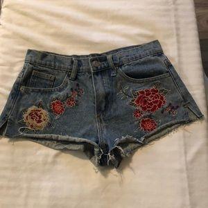 Flower Embroidered Denim Short